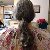 """16"""" virgin brown naturally wavy/curly 2c hair with blond, gold and grey highlights"""