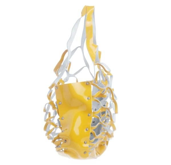 Coccinelle borsa a mano a rete in pelle scamosciata giallo