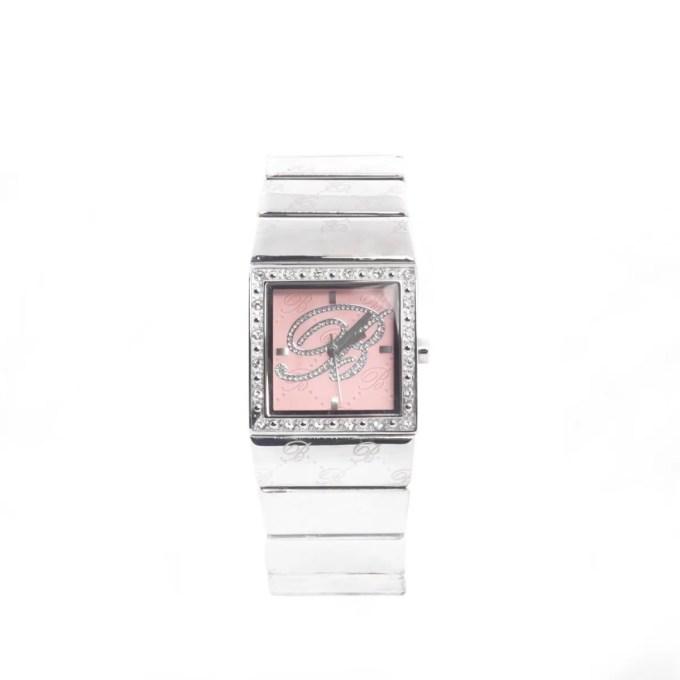 blumarine orologio in acciao quadrante rosa con brillantini