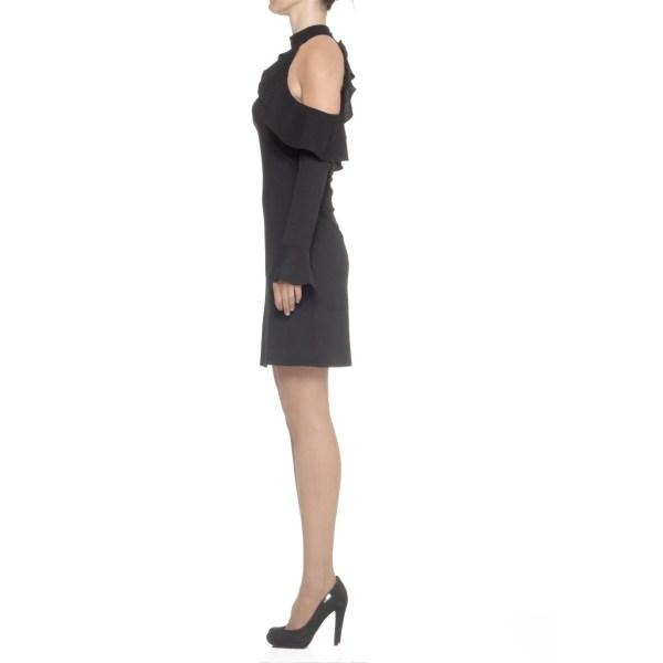 Guess moonlight abito corto nero donna colletto coreana con rete