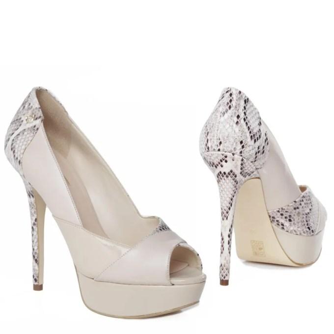GUESS decollette open toe, beige paint and python stiletto heel