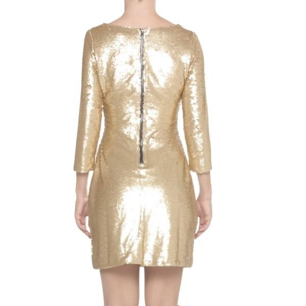 Glamorous abito corto donna da sera o capodanno con paillettes oro, EU 38
