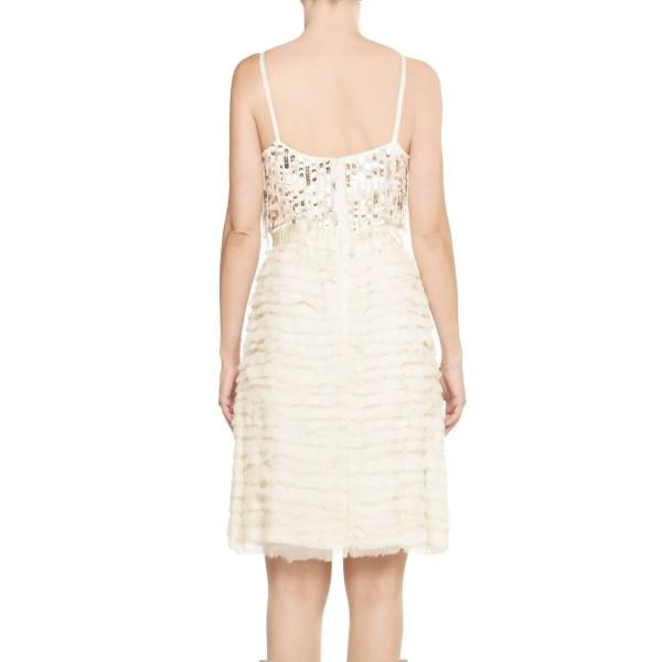 BLUGIRL by BLUMARINE, vestito donna, vestito corto panna, applicazioni paillettes, vestito elegante, vestito cerimonia,