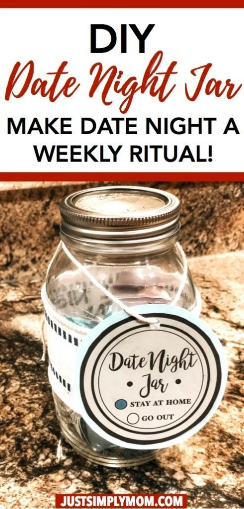 Marriage takes work especially when you have babies or toddlers around. Keeping that spark and romance alive is important for your whole family. Here is an idea for a date night jar so you can still date each other even after many years of marriage.