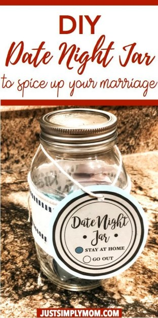 Marriage takes work especially when you have babies or toddlers around. Keeping that spark and romance alive is important for your whole family. Here is an idea for a date night jar so you can still date each other even after many years of marriage. Create a date night jar to make date nights a ritual in your life. 100 ideas for date nights at-home or out and use this as a unique Valentine's Day Gift.