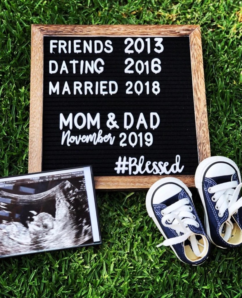 Make your pregnancy announcement beautiful to share with friends and family. Get creative and unique ideas for your beautiful flat lay photo announcement.