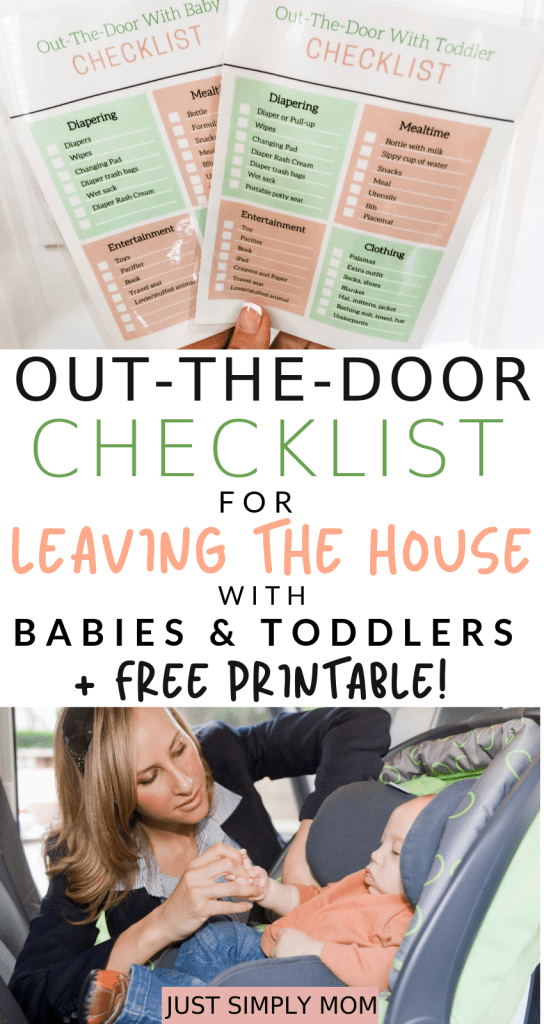 When you're leaving the house with a baby or toddler, you need to pack a bunch of items. Use this free printable checklist so you don't forget anything as you're running out the door. You can print out and laminate the checklist to use over and over so you always remember everything you need to bring and don't let mom brain make you forgetful!