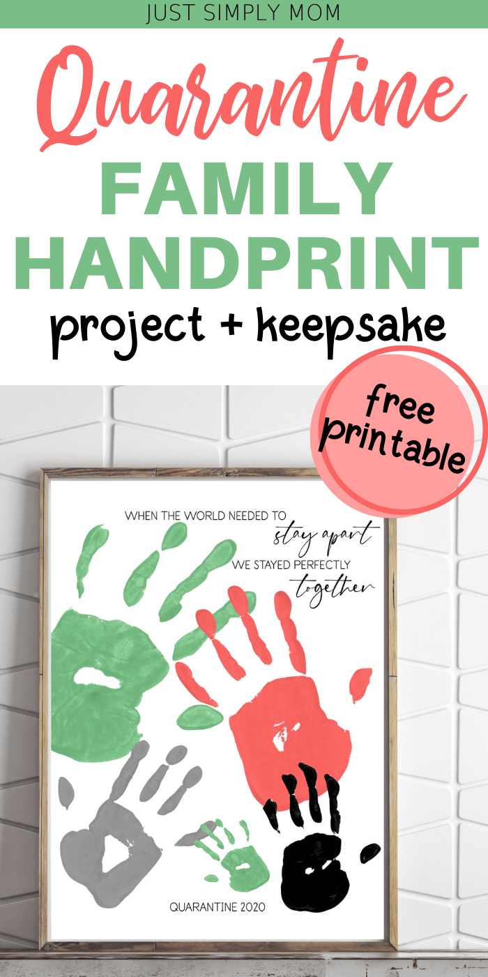 Create a simple family quarantine handprint keepsake as a memory for years to come by using fingerpaint and a piece of paper as an activity or decor project