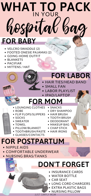 Here is a list of what to pack in your hospital bag with a free printable checklist. Don't for get the essentials when you pack your hospital overnight bag both for mom, dad, and baby.