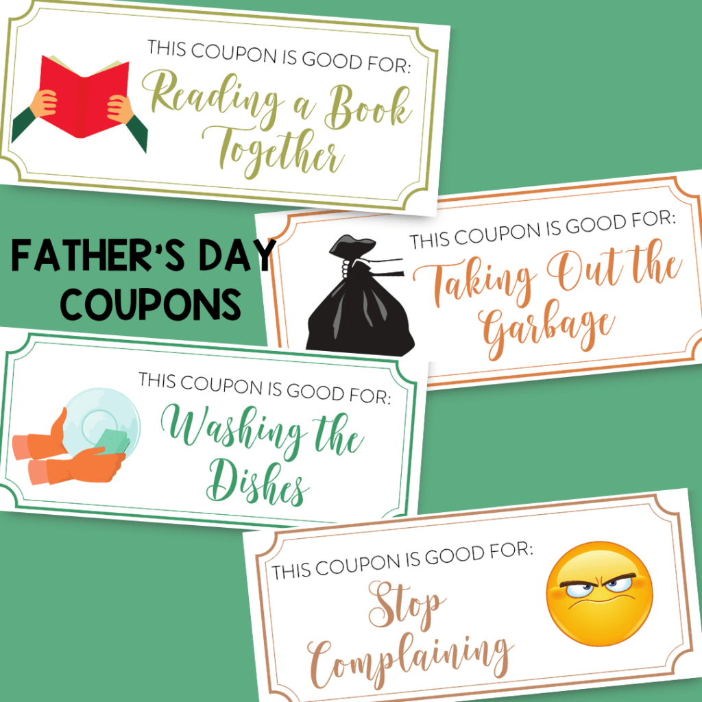 Grab your free printable Father's Day coupon book to make yourself and have your children give this last minute gift to dad.