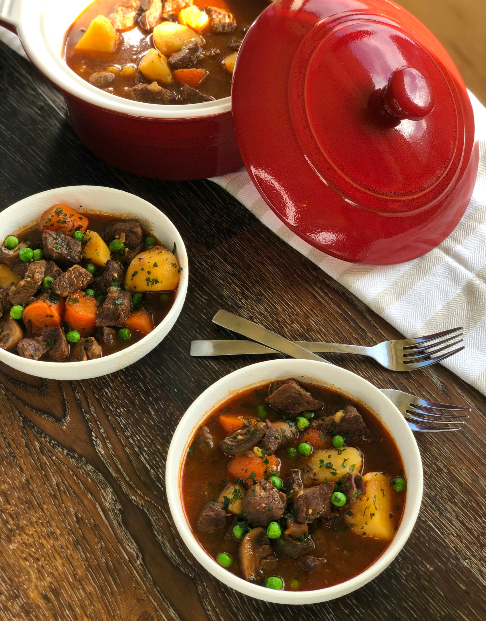 Casserole dish full of Slow Cooker Beef Stew