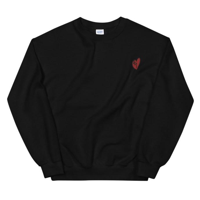 broken heart embroidered sweatshirt