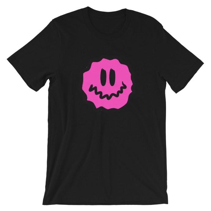 pink antsyface short-sleeve unisex t-shirt - Black