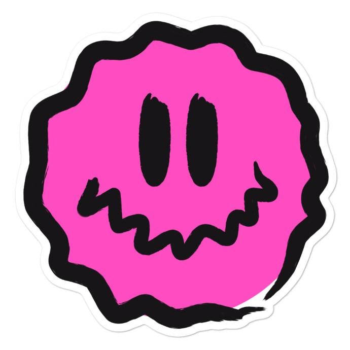 pink antsyface sticker - 5.5x5.5