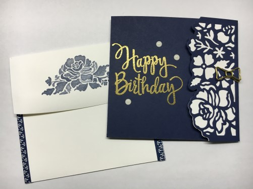 Stampin Up Detailed Floral Thinlits Happy Birthday fun fold card idea - Jeanie Sta