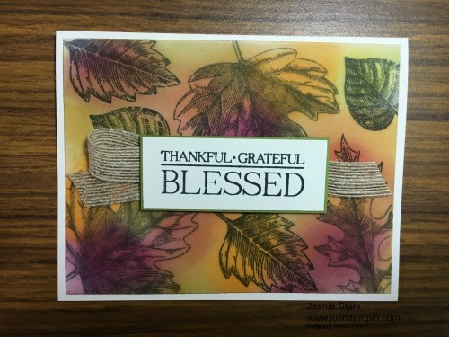 Stampin Up Paisleys & Posies and Vintage Leaves Thankful card idea - Jeanie Stark StampinUp