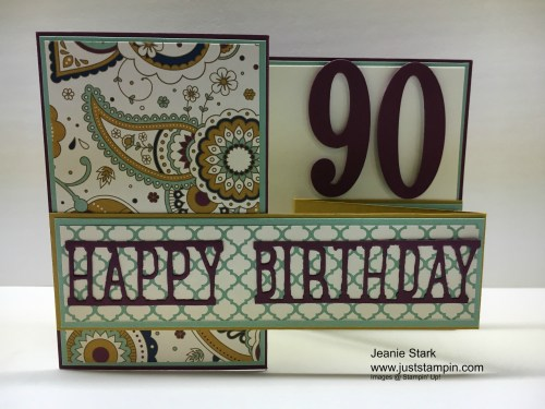 Stampin Up Party Pop Up Thinlits and Large Number Dies Birthday card idea - Jeanie Stark StampinUp