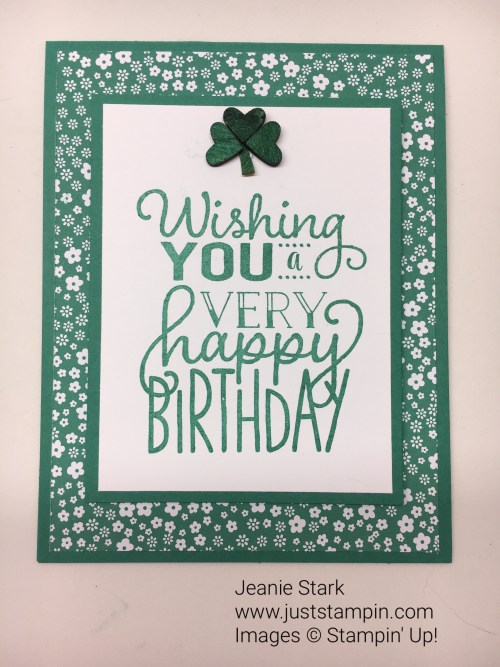 Big on Birthdays St. Patrick's Day birthday card idea - Jeanie Stark StampinUp