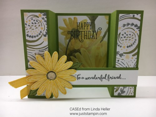 Stampin Up fun fold card idea using Delightful Daisy Designer Series Paper - Jeanie Stark StampinUp