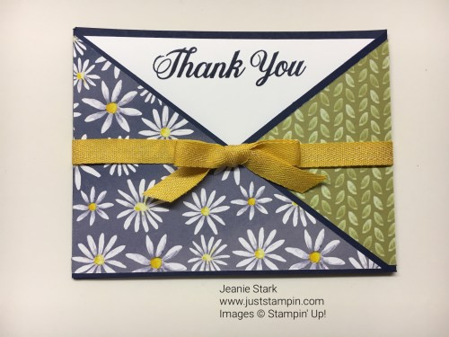 Stampin Up Fun Fold Thank You card idea using Delightful Daisy Designer Series Paper - Jeanie Stark StampinUP
