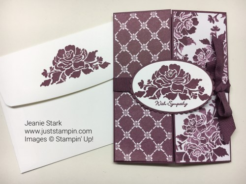 Stampin Up Floral Phrases Fun Fold Sympathy card ideas - Jeanie Stark StampinUp