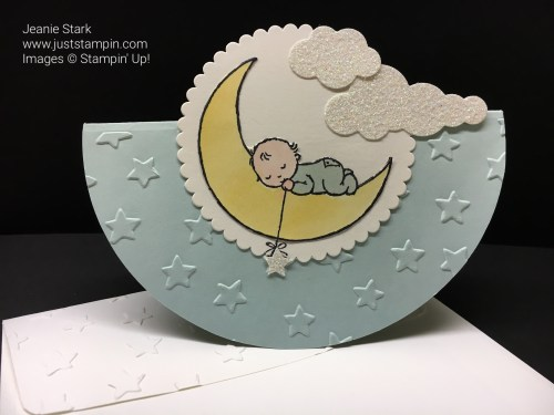 Stampin Up Moon Baby Rocker card. For directions and Stampin Up supplies visit www.juststampin.com