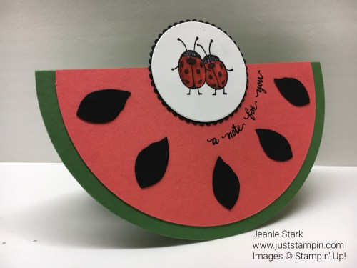 Stampin Up Watermelon Rocker card with Love You Lots and Eastern Beauty stamp sets. For directions and Stampin Up supplies visit www.juststampin.com