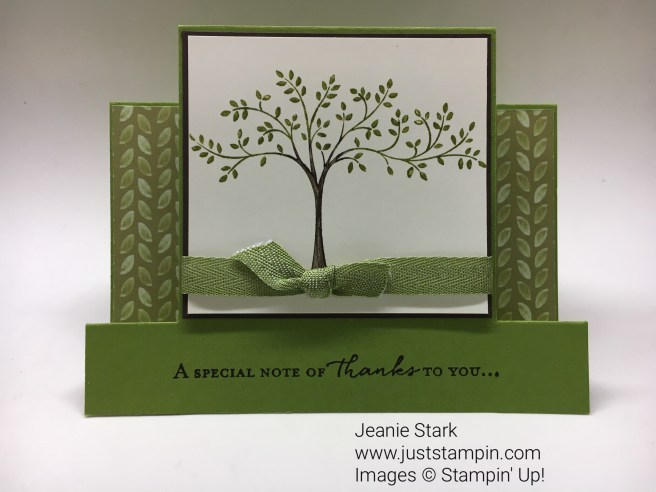 Stampin Up Fun Fold Step card using Thought & Prayers and Floral Phrases stamp sets. For directions, supplies, and card inspiration visit www.juststampin.com