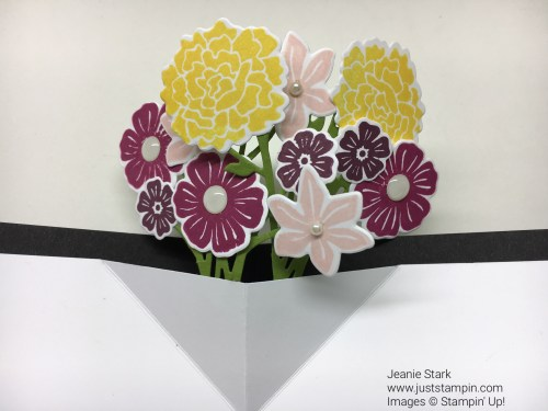 Stampin Up fun fold card using Beautiful Bouquet, Floral Statements, and Thankful Thoughts stamp sets with Bouquet Bunch Framelits. For directions and supplies visit www.juststampin.com