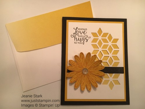 Stampin Up all occasion card with Daisy Punch and Eclectic Layers Thinlits Dies. For more card inspiration visit www.juststampin.com #tictactoechallenge007