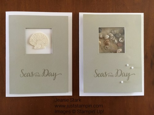 Simple card ideas with Stampin' Up! So Many Shells stamp set and Layering Squares Framelits. For project ideas, directions, and supplies visit www.juststampin.com