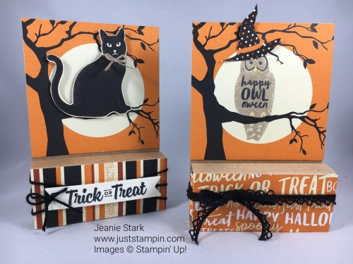 Hershey Nugget treat holder using Stampin Up Spooky Night Designer Series Paper and Spooky Cat Stamp Set. For directions and ordering visit www.juststampin.com
