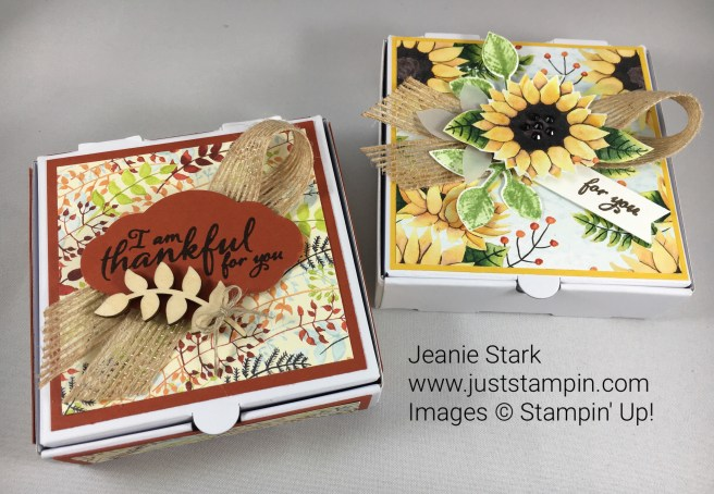Stampin Up Pizza Box treats with the Painted Autumn Designer Series Paper, Painted Harvest Stamp Set, Leaf Punch, and Touches of Nature Elements. For directions and supplies visit www.juststampin.com
