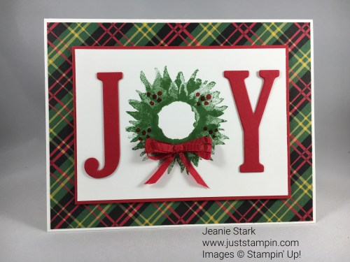 Stampin Up Painted Harvest Christmas Joy Card Idea - Jeanie Stark StampinUp For inspiration and supplies visit www.juststampin.com
