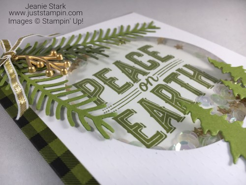 Stampin Up Pining for Plaid Paper Pumpkin alternative shaker card idea using Carols of Christmas bundle and Pretty Pines Thinlits - Jeanie Stark Stampin Up