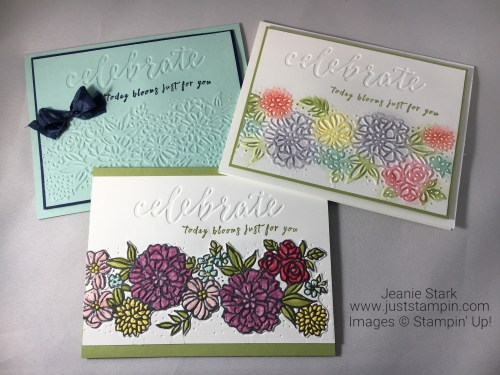 Stampin Up Perennial Birthday Stamp Set and Petal Pair birthday or all occasion card idea using different coloring techniques - Jeanie Stark StampinUp