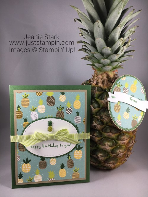 Stampin Up Envelope Punch Board and Fruit Basket Bundle birthday card and tag idea to hold a treat - Jeanie Stark StampinUp