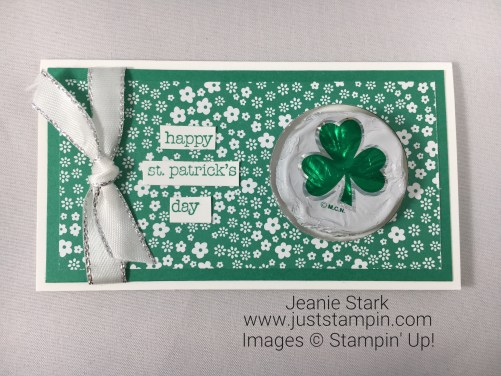 Stampin Up Teeny Tiny WIshes St. Patrick's Day card idea using Narrow Note Card - Jeanie Stark StampinUp