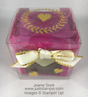 Stampin Up Clear Tiny Treat Box with Painted Love Gold Vinyl Stickers and Ghirardelli Chocolate - Jeanie Stark StampinUp