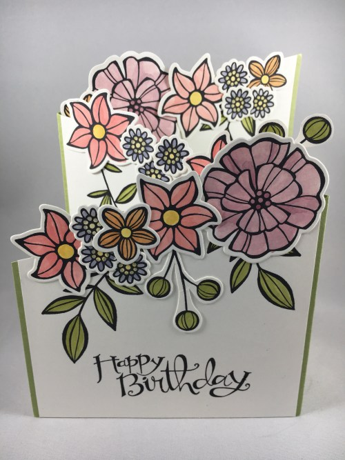 Stampin Up Falling Flowers fun fold birthday card idea - For ideas and to order Stampin' Up! products to create this card visit www.juststamping.com Jeanie Stark StampinUp