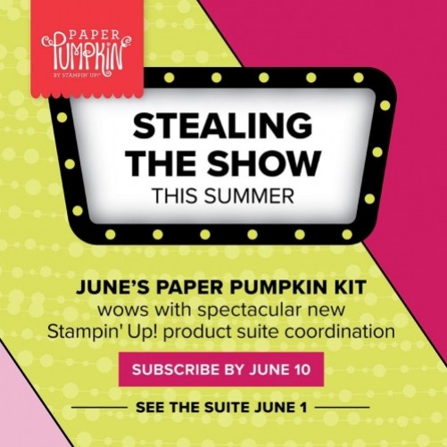 Stampin Up Paper Pumpkin Broadway Bound Suite Coordination June 2018 - To order visit www.juststampin.com - Jeanie Stark StampinUp PaperPumpkin