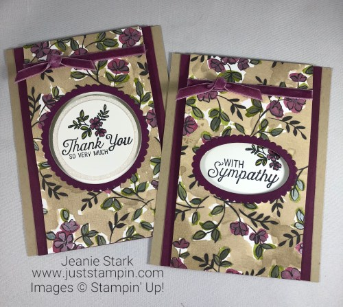 Stampin Up Flourishing Phrases Fun Fold thank you and sympathy card ideas - Jeanie Stark StampinUp