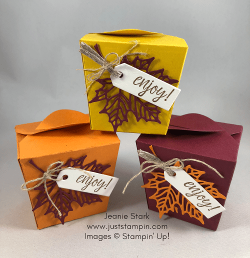 Stampin Up Takeout Treats boxes for fall or Thanksgiving - Jeanie Stark StampinUp