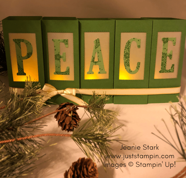 Stampin Up Large Letter Framelits Peace Luminaries for Christmas Home decor idea - Jeanie Stark StampinUp