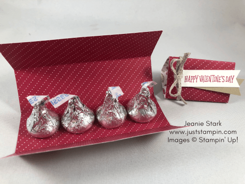 Stampin Up Hershey kiss treat holder idea for Valentine's Day using Paper Pumpkin stamp set and All My Love Designer Series Paper - Jeanie Stark StampinUp