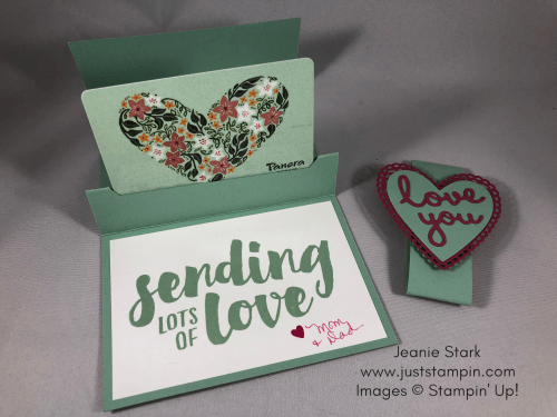 Stampin Up Pop Up Gift Card Holder idea using Well Written Framelits Dies and Be Mine Stitched Framelits Dies - Jeanie Stark StampinUp