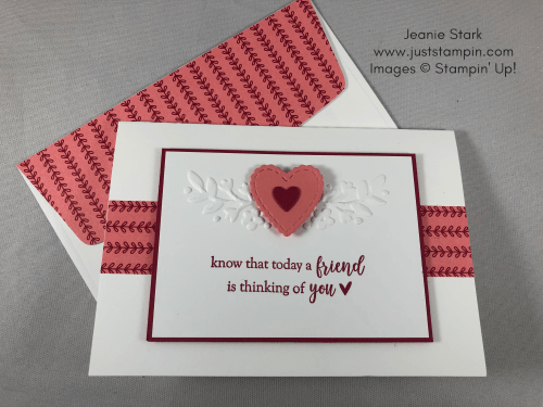 Stampin Up Thinking of You card for a friend Valentine's Day card idea using Part of My Story Stamp Set and Be mine Stitched Framelits Dies - Jeanie Stark StampinUp
