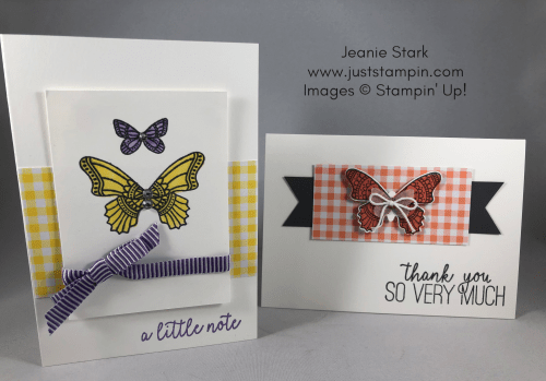 Stampin Up Butterfly Gala simple thank you note card ideas - Jeanie Stark StampinUp