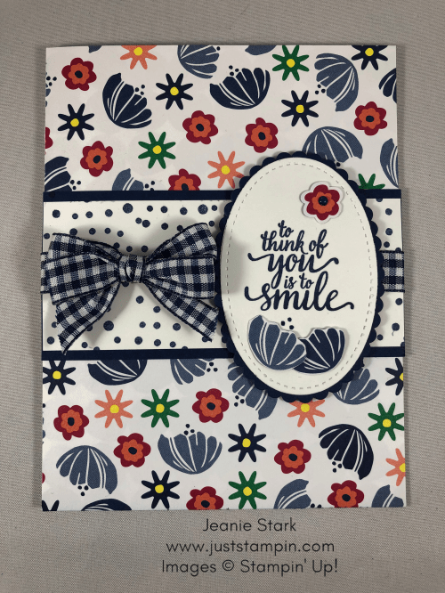 Stampin Up Happiness Blooms Designer Series Paper and Eastern Beauty Stamp Set makes a quick & easy all occasion card - Jeanie Stark StampinUp