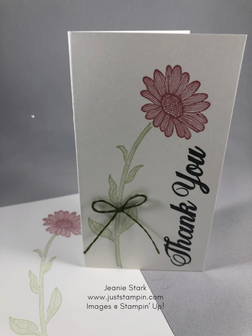 Stampin' Up! Daisy Lane Rococo Rose thank you note card idea - Jeanie Stark StampinU